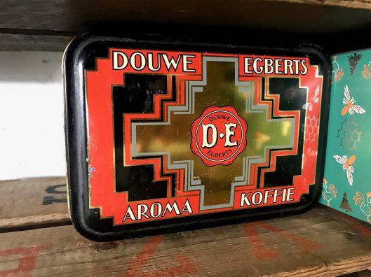 Douwe Egberts coffee tin, circa 1960s.