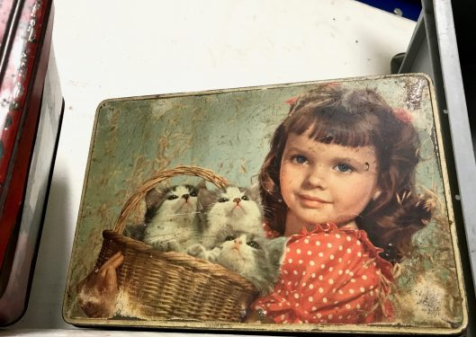 Old tin of biscuits.