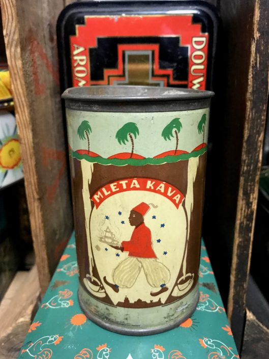 Tin of ground coffee (mleta kava means ground coffee in Slovenian).