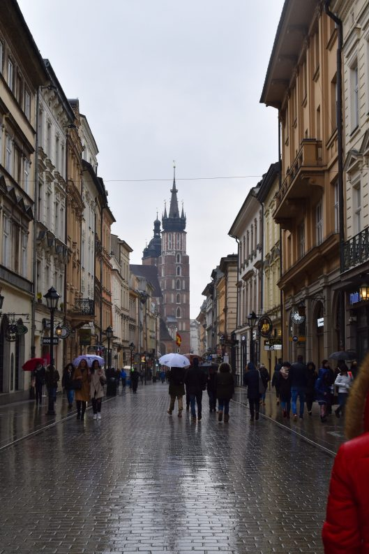 Krakow in the rain. Florianska Street.