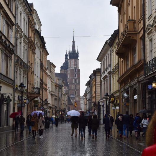 Krakow in the rain. Florianska Street.