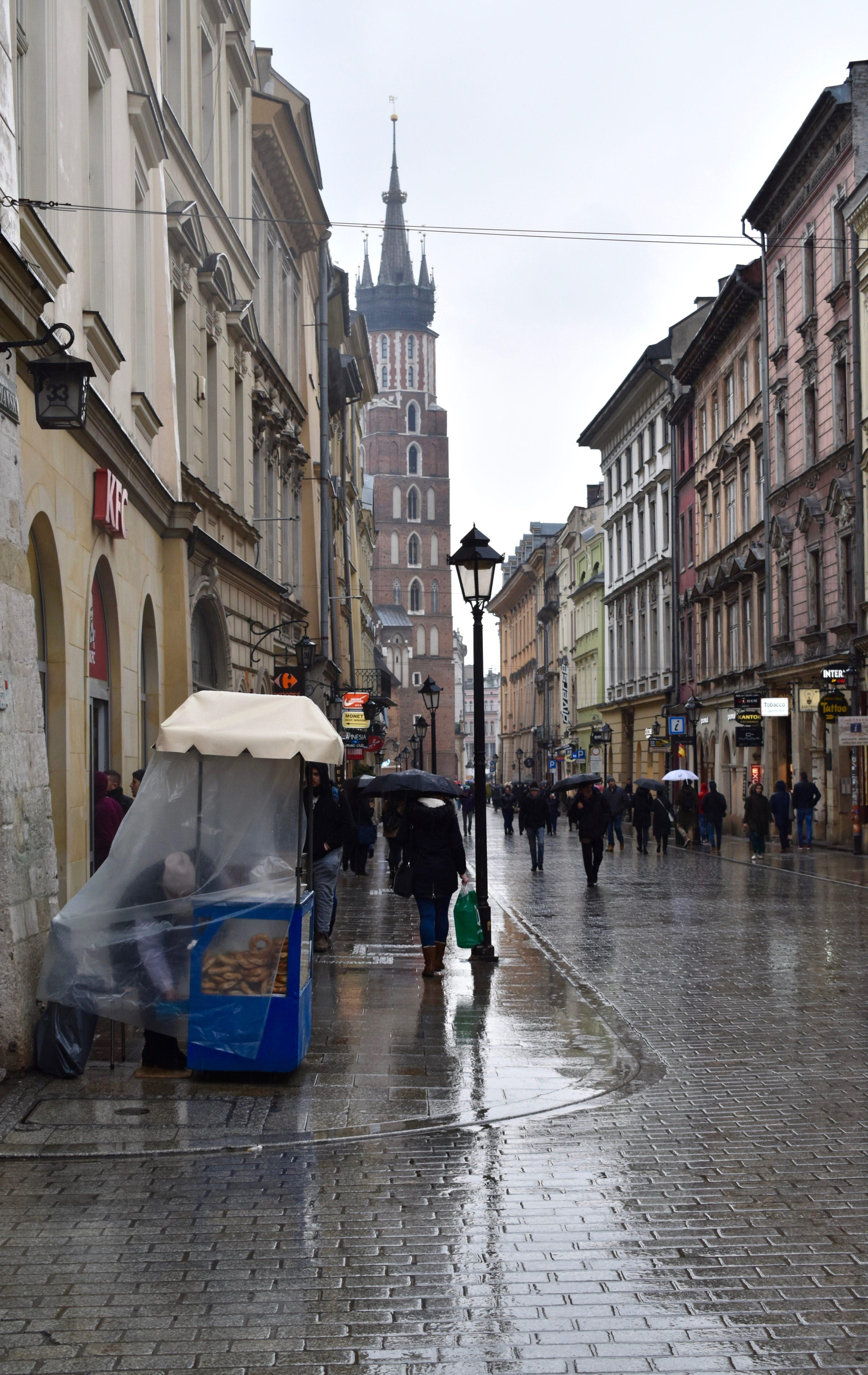 Obwarzanek bread stall in Krakow Poland