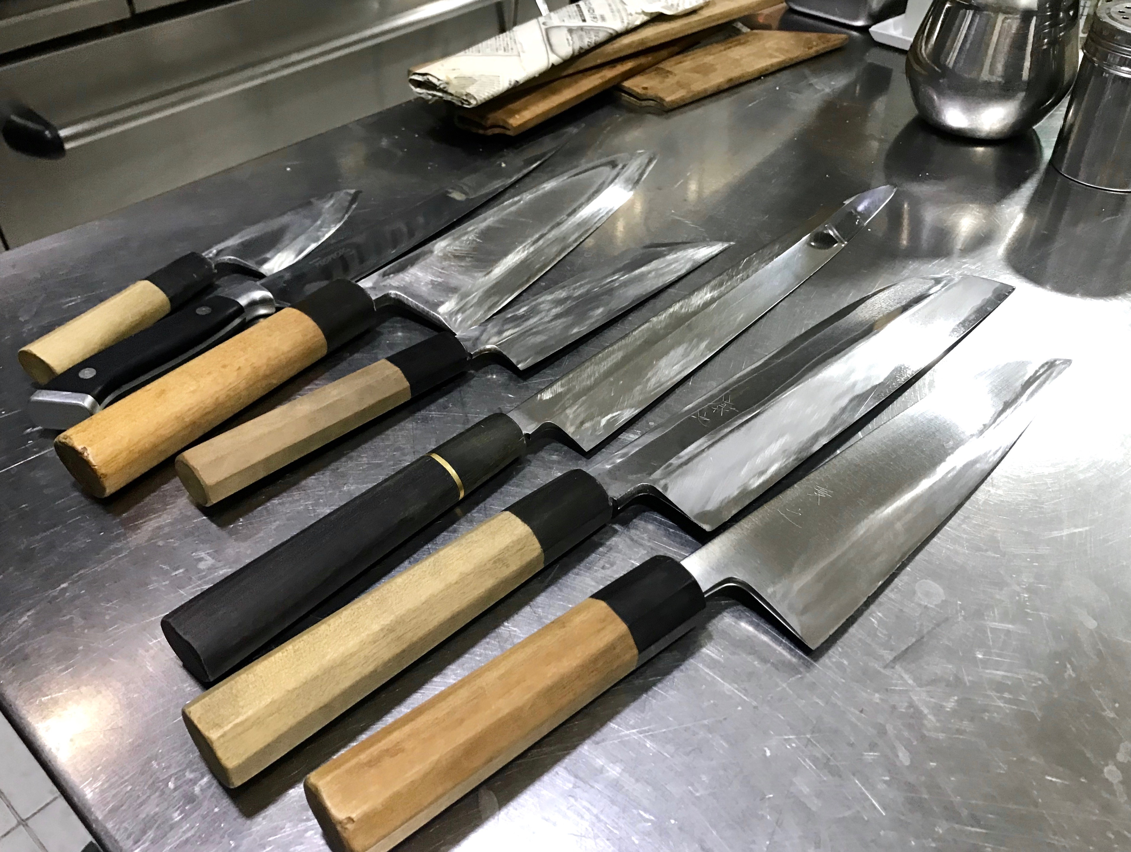 Set of professional chef's knives