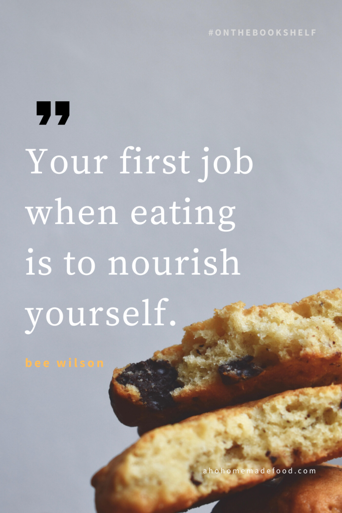 A quote about food with a picture of cookies with chocolate