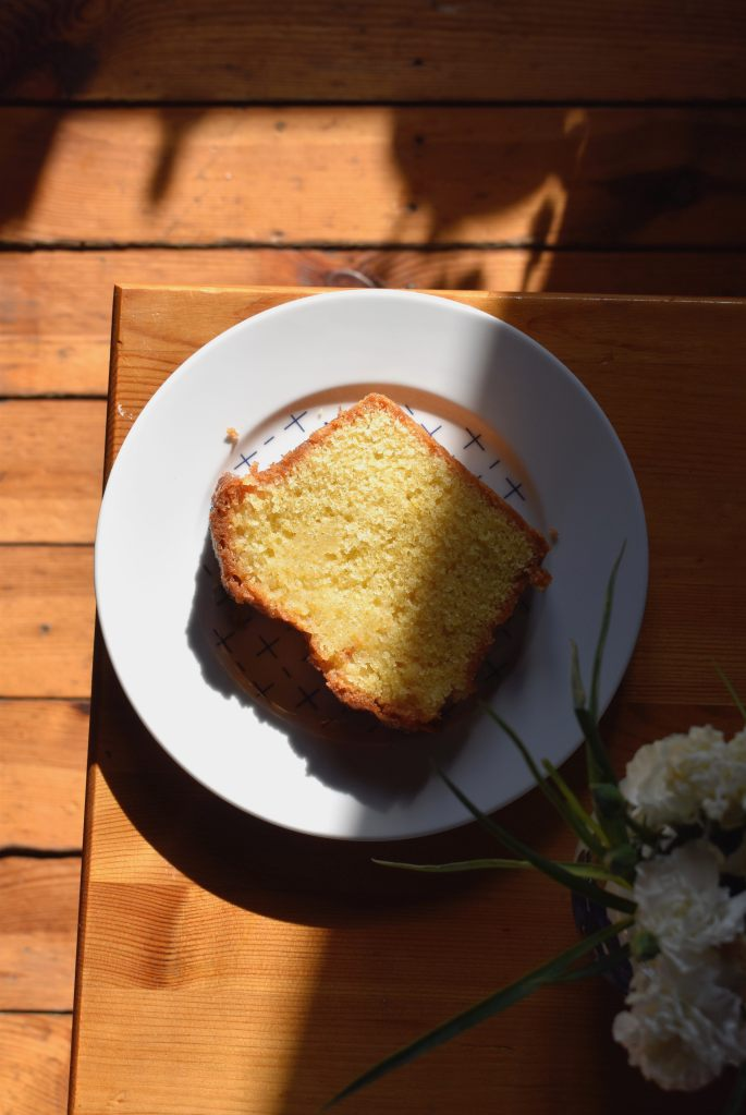 slice of loaf cake on a white plate
